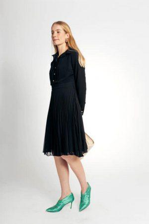 שמלת שיפון כפלים - שחור 001