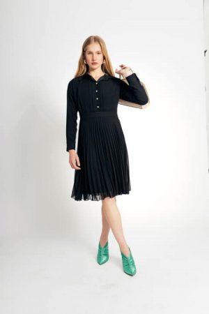 שמלת שיפון כפלים - שחור 012