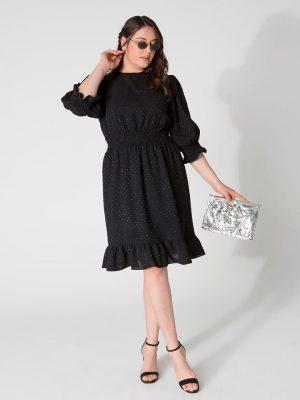שמלת שיפון נקודות כסוף - שחור 001