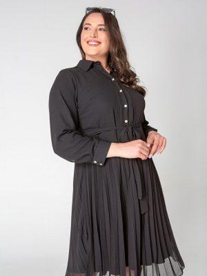 שמלת שיפון פליסה - שחור 001