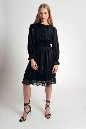 שמלת שיפון שחור כסוף 012