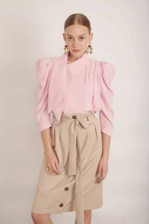 1005 beige חצאית כפתורים בז