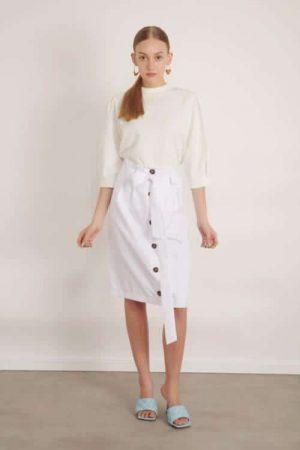 1005 white חצאית כפתורים לבנה