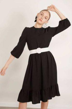 1012 black שמלה שחורה עם חגורת אבזם עגול