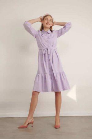 1013 lila שמלת כפתורים עם צווארון- לילך