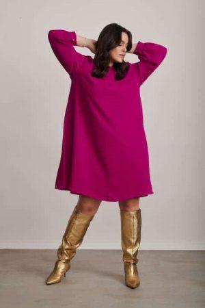 1320 שמלה בגזרה ישרה עם כפלים