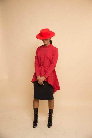 שמלת חולצה - אדום
