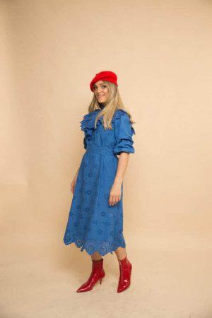 שמלת ריקמה פפלום כחול רויאל
